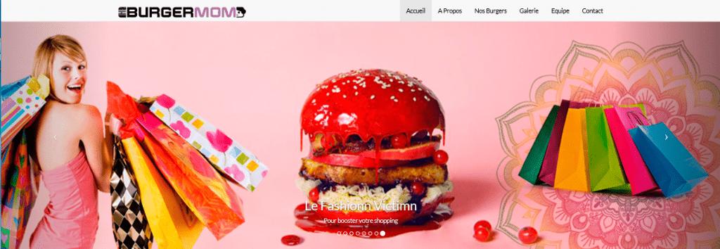Carrousel du Burger FASHION VICTIM. Femme qui fait du shopping, le Burger et des sacs papier multicolore.