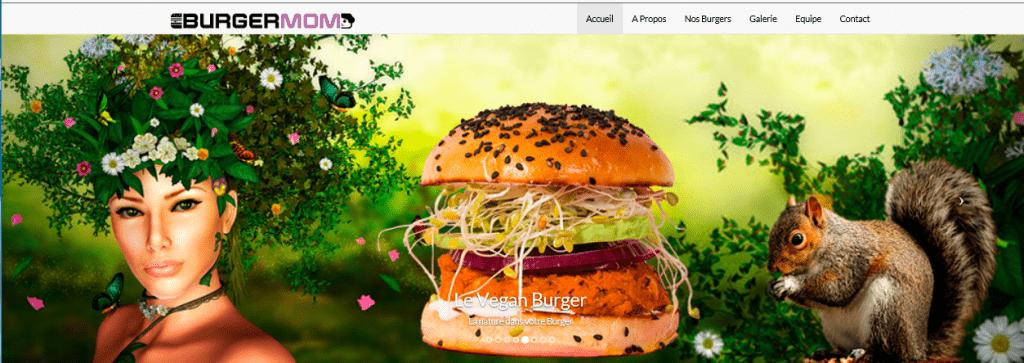Carrousel Burger VEGAN. Une femme avec chevelure de végétaux, le burger et un écureuil qui mange une noisette.