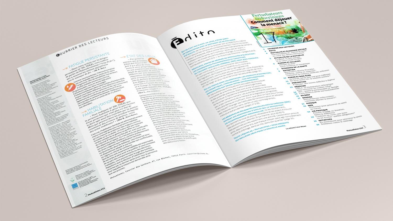 N° 332 du magazine de santé MUTUALISTES. Pages 2-3.