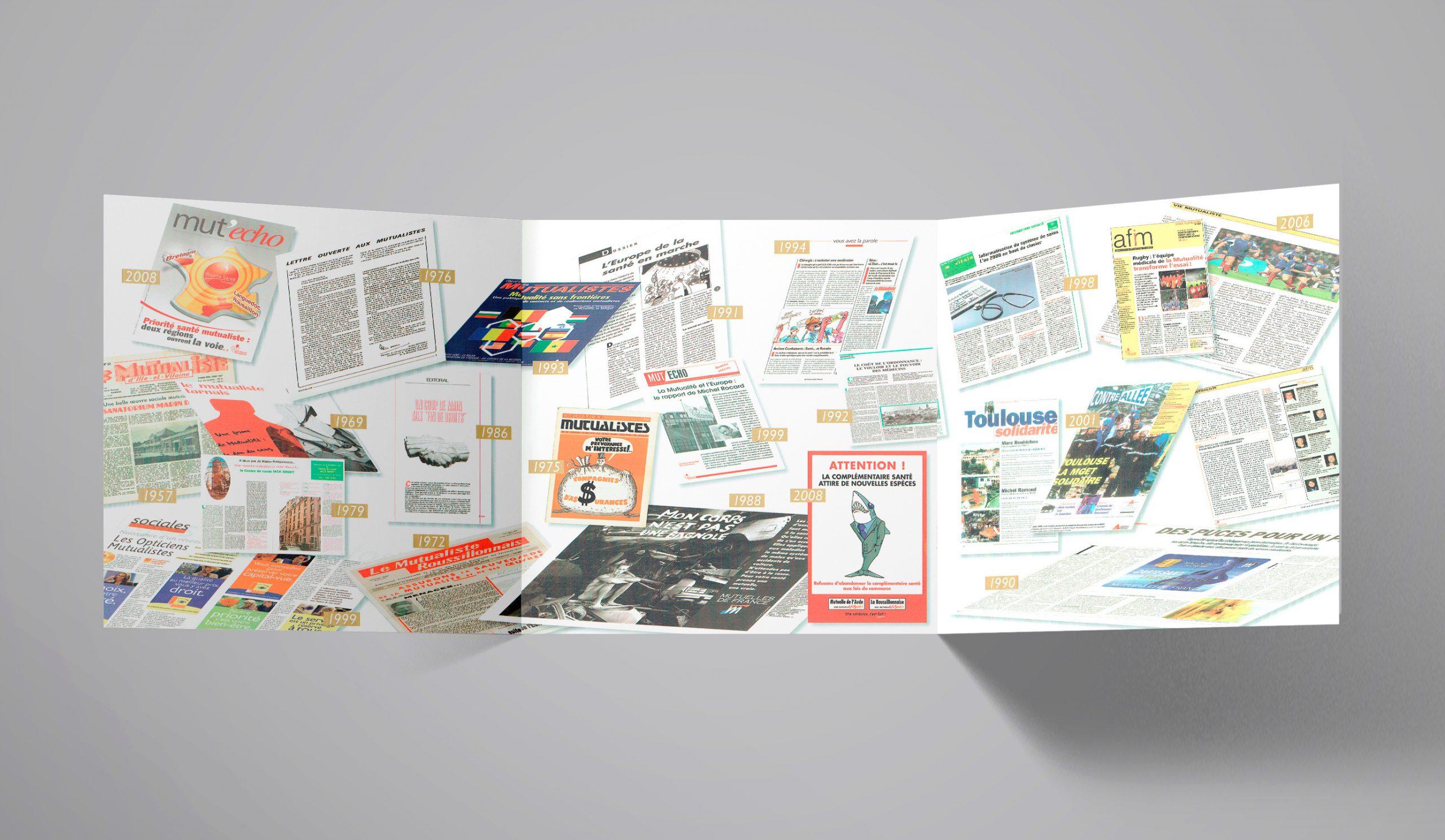 """Chapitre """"Actions Mutualistes""""... illustration des divers magazines sur 50 ans."""