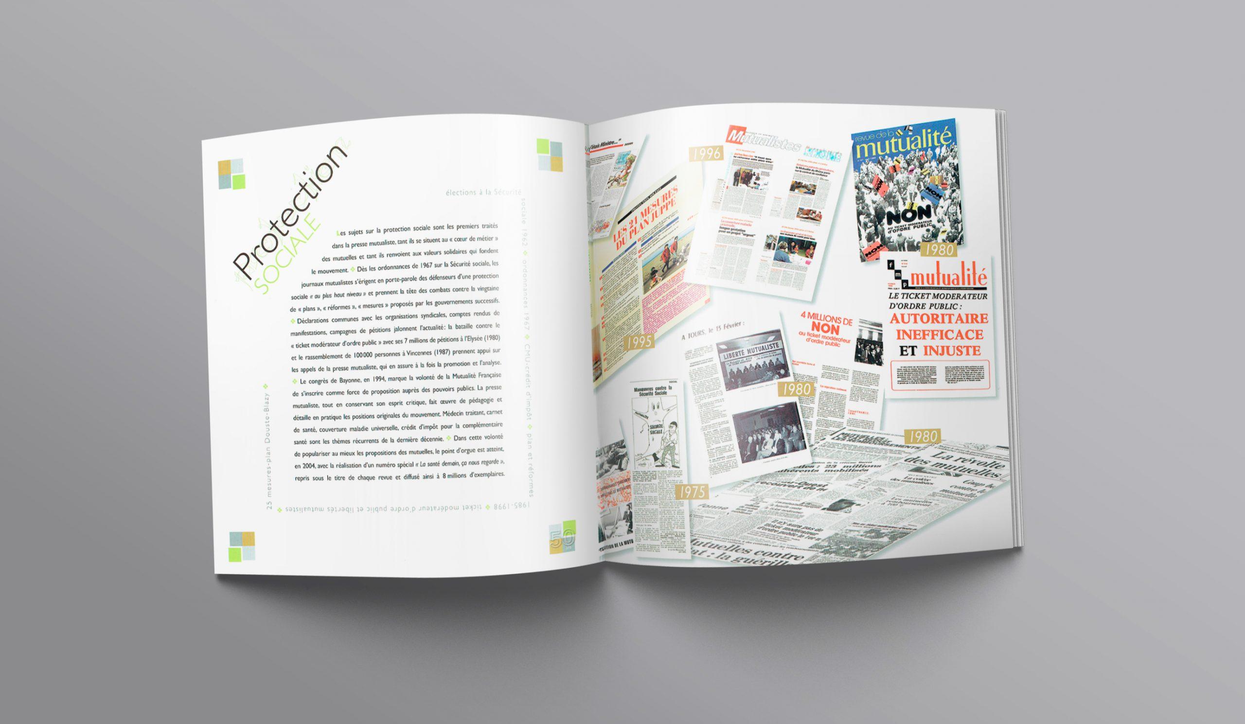 """Chapitre """"Protection Sociale""""... Texte + illustration des divers magazines sur 50 ans."""
