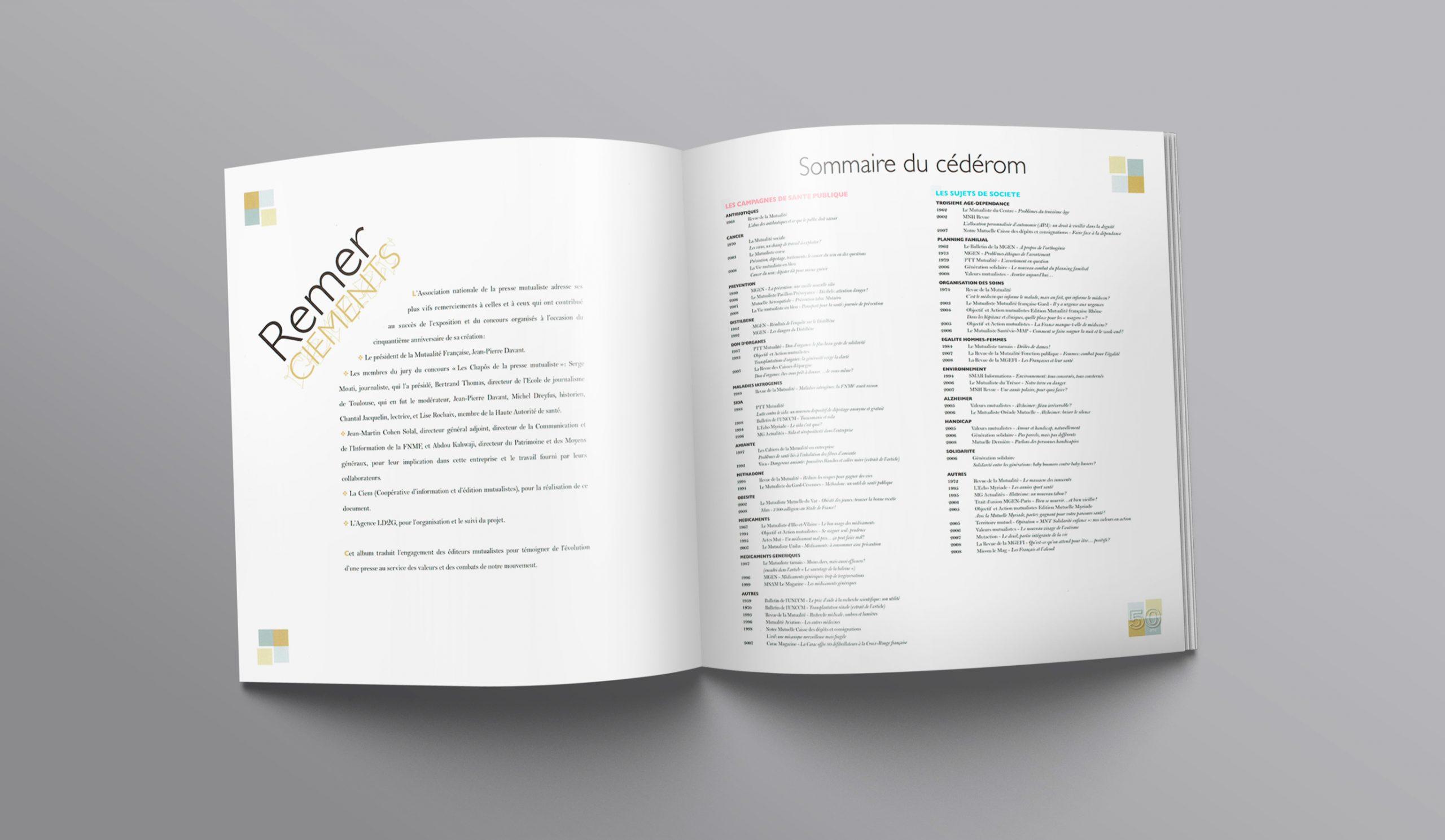 """Chapitre """"Remerciements""""...+ """"Sommaire"""" de la brochure pour les 50 ans."""