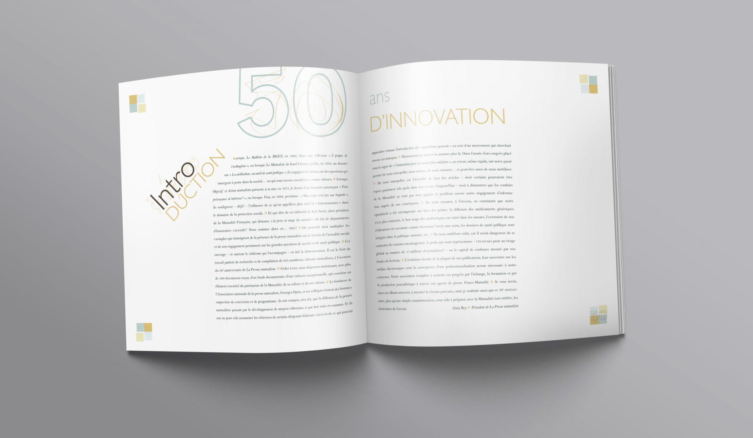 Page d'intro de la brochure des 50 ans de la Presse Mutualiste