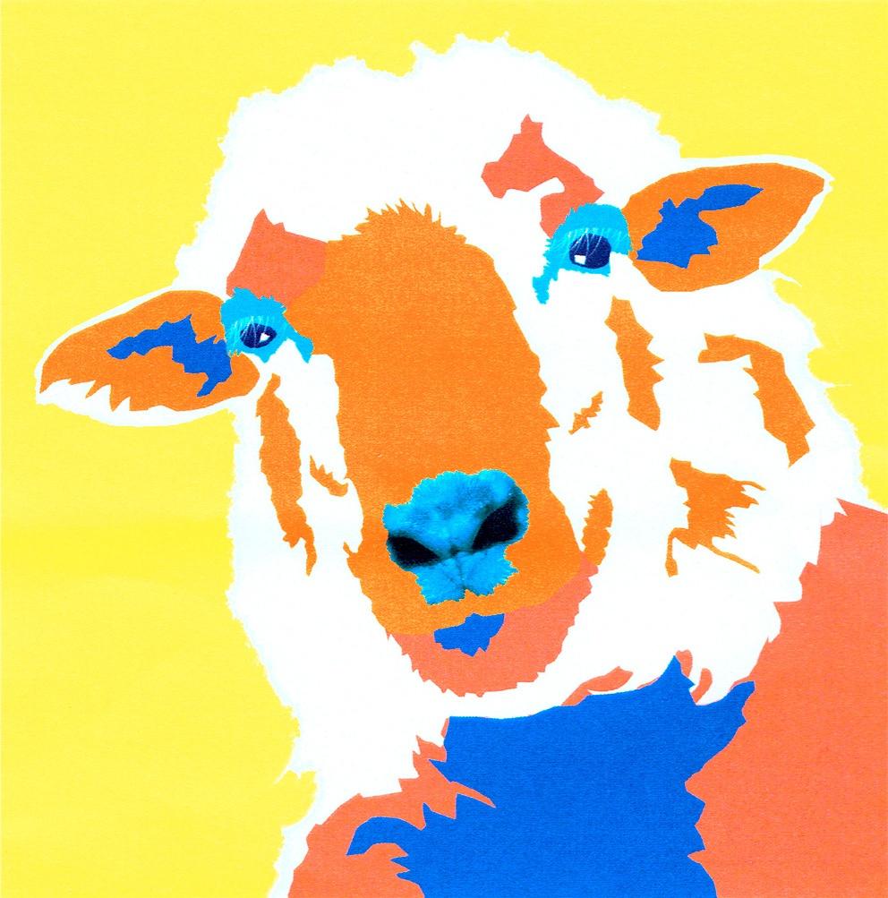 Tête de mouton façon Pop Art Andy Warhol
