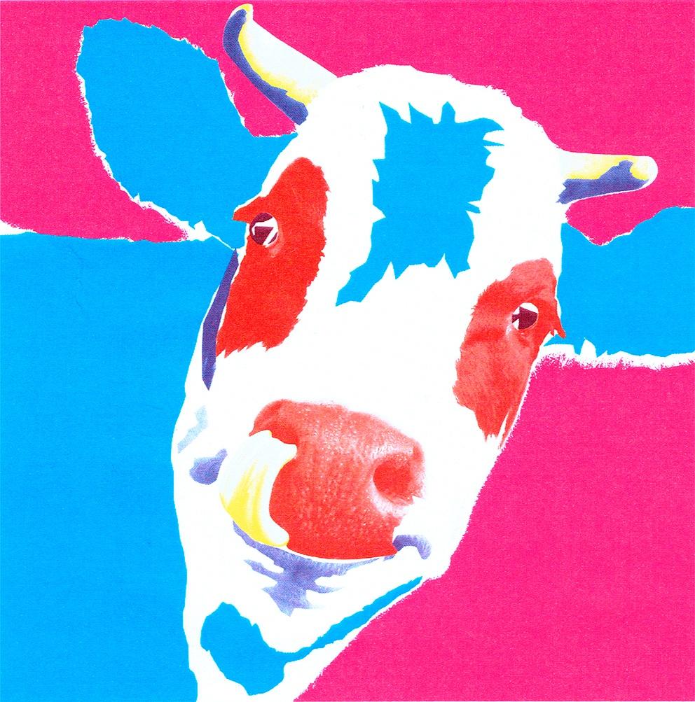Tête de vache façon Pop Art Andy Warhol