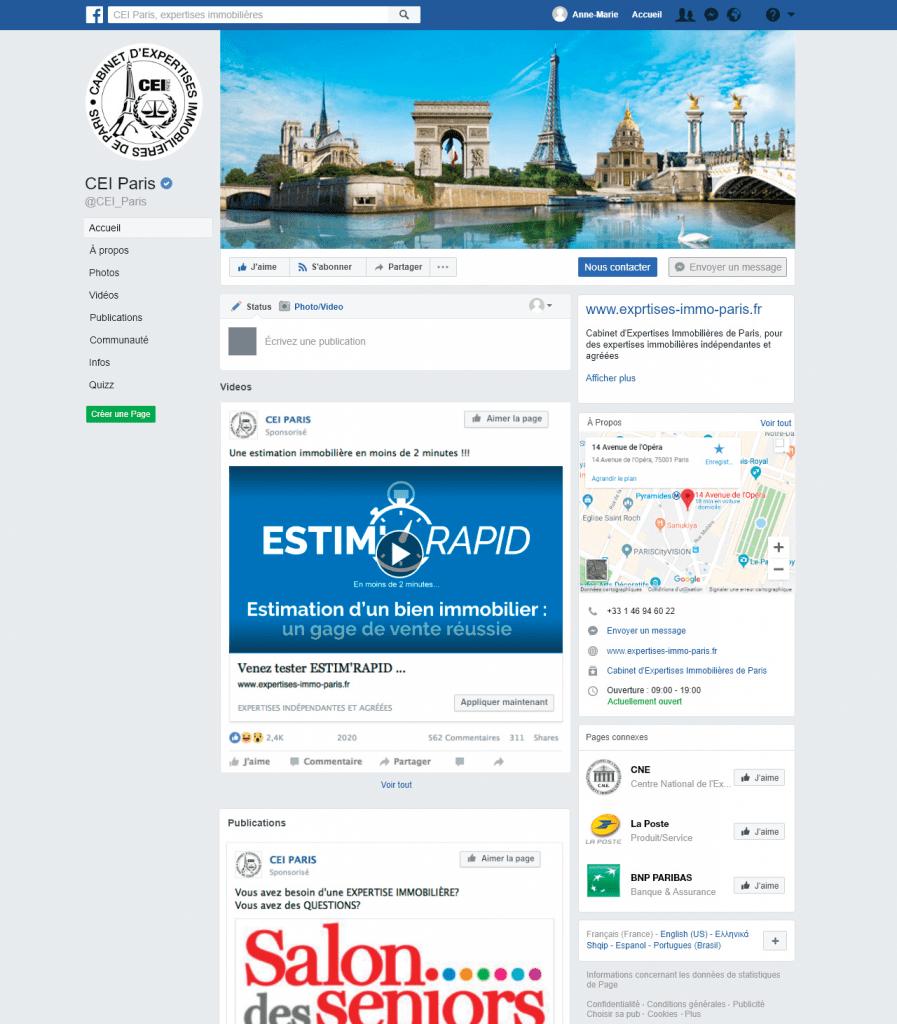 Compte Facebook de CEI PARIS