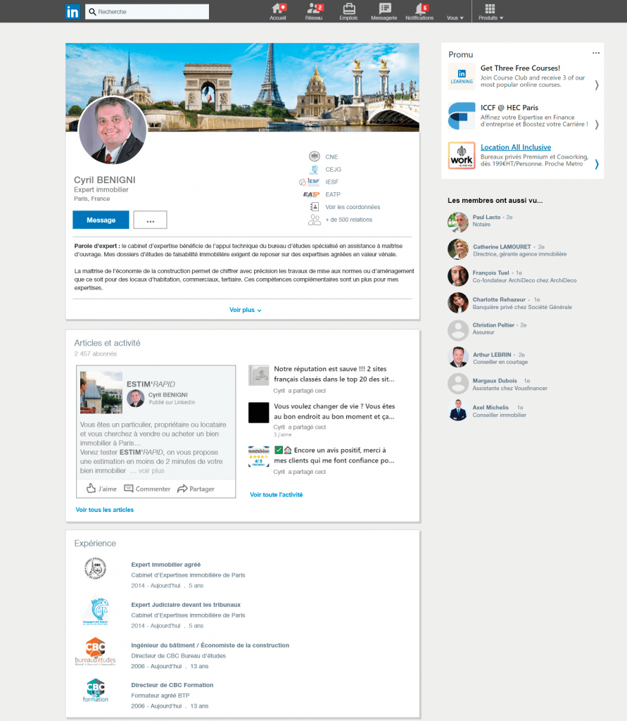 Profil LinkedIn de Cyril BENIGNI