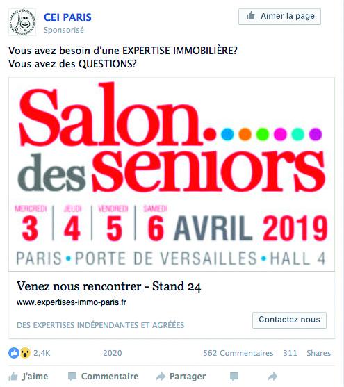 Post Facebook pour annoncer la présence de CEI PARIS au Salon des Seniors en avril 2019.