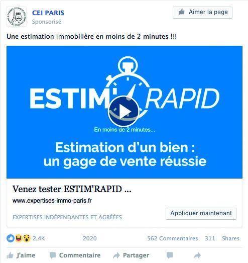 Post Facebook de CEI Paris pour faire connaitre et tester ESTIM'RAPID.