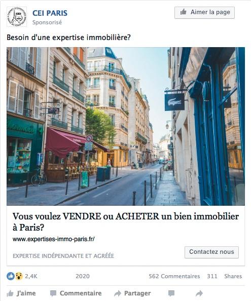 Post Facebook de CEI Paris pour une proposition d'estimation rapide de son bien immobilier.