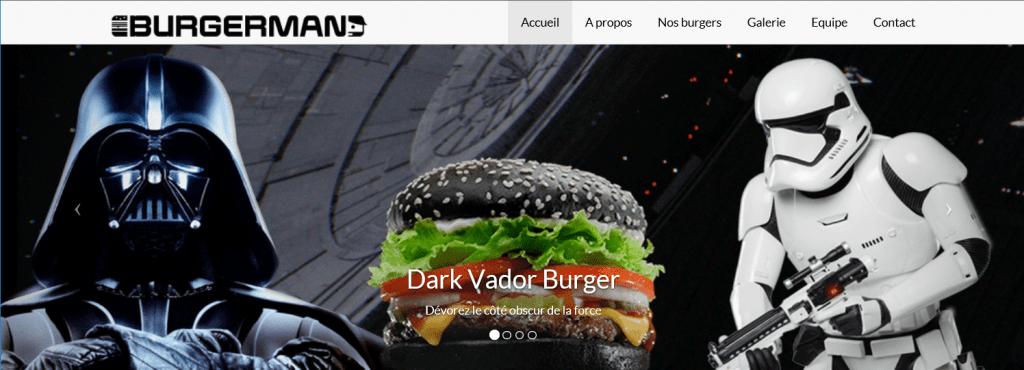Carrousel burger DARK VADOR. Visuel de DARK VADOR, le Burger et un stormtroopers, les soldats de l'Empire galactique puis du Premier Ordre.