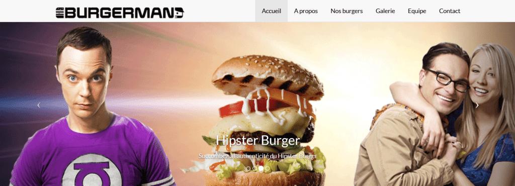 """Carrousel burger GEEK. Un jeune homme en tee-shirt violet, héro de la série américaine """"GEEK et SEXY"""", le burger et un couple quadra."""
