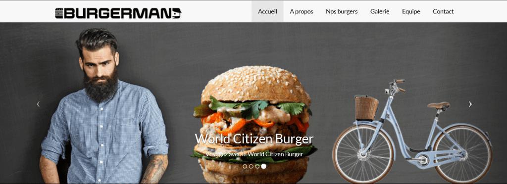 Carrousel Burger HIPSTER. Un barbu en chemise à carreaux, le burger et un vélo vintage.