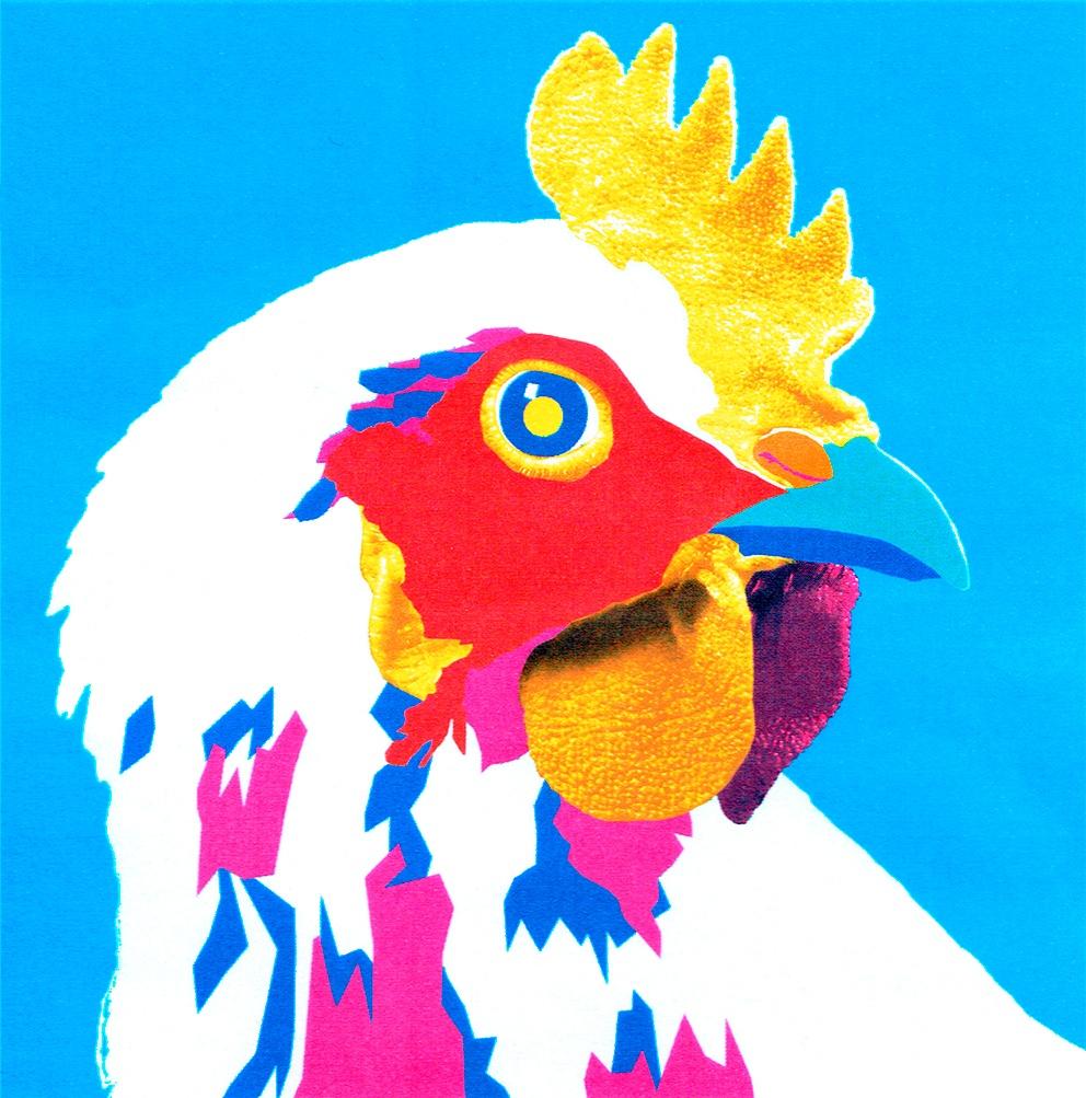 Tête de coq façon Pop Art Andy Warhol