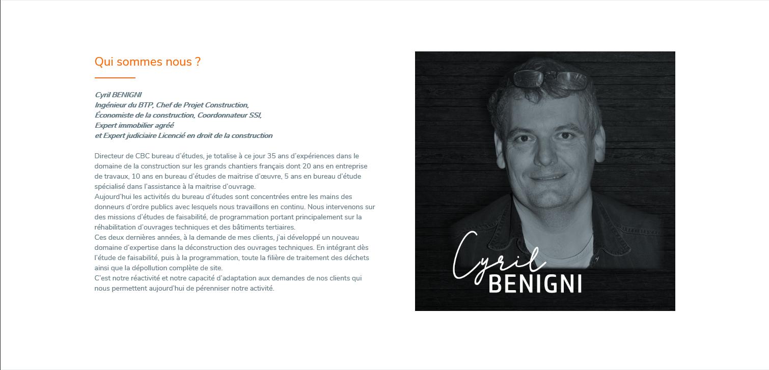 A Propos de CBC Bureau d'Études - Photo du directeur Cyril Benigni