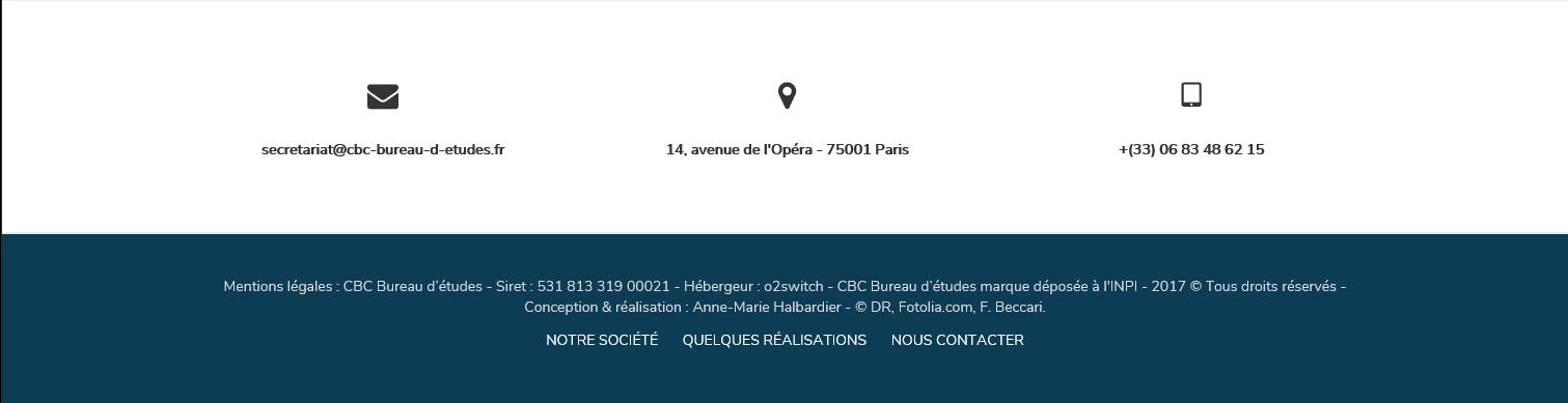 Logos pour contacter CBC Bureau d'Études et géolocalisation. + Mentions légales.