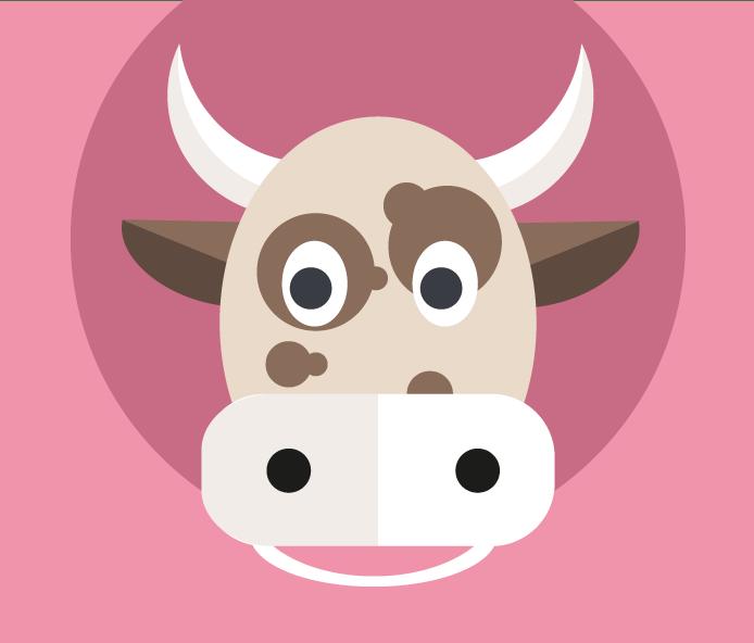 Illustration tête de vache Marguerite