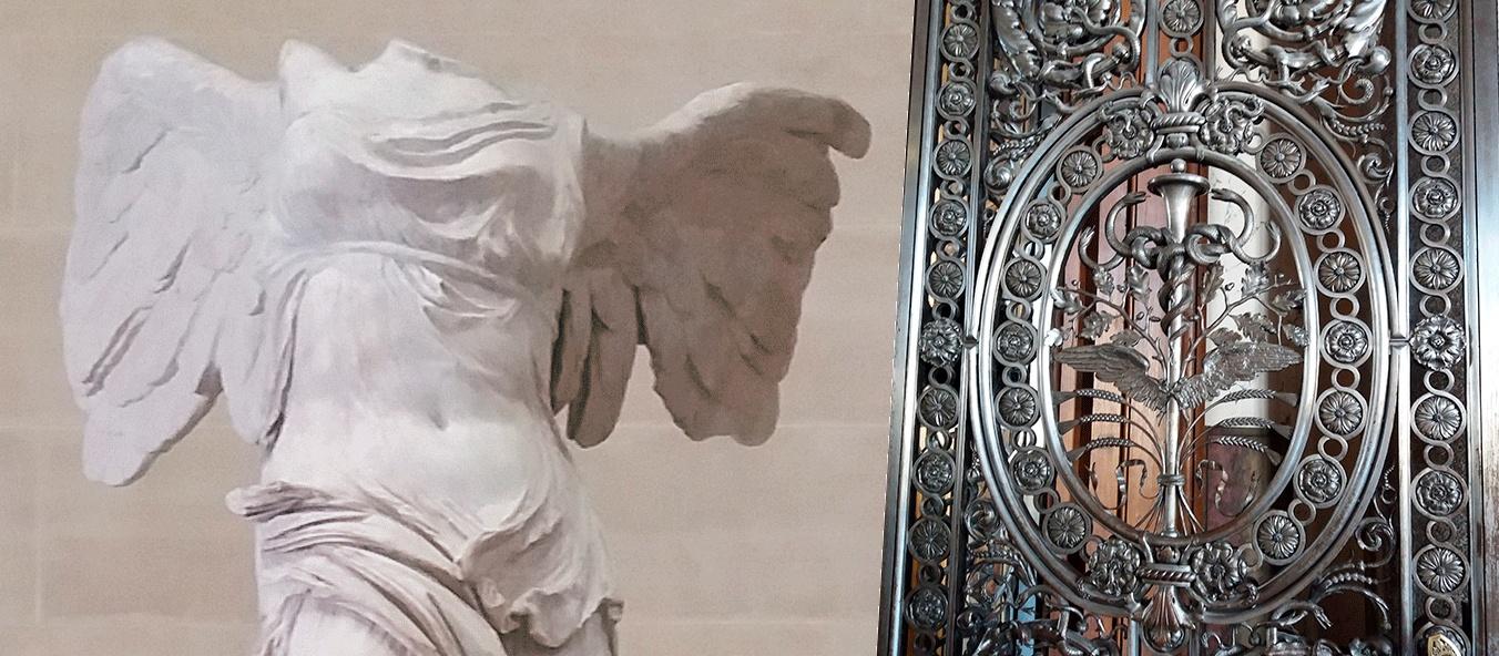 La statue de la Victoire de Samothrace. Porte forgée Galerie d'Apollon Musée du Louvre.