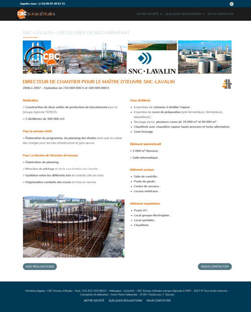 page présentation réalisations pour SNC Lavalin.