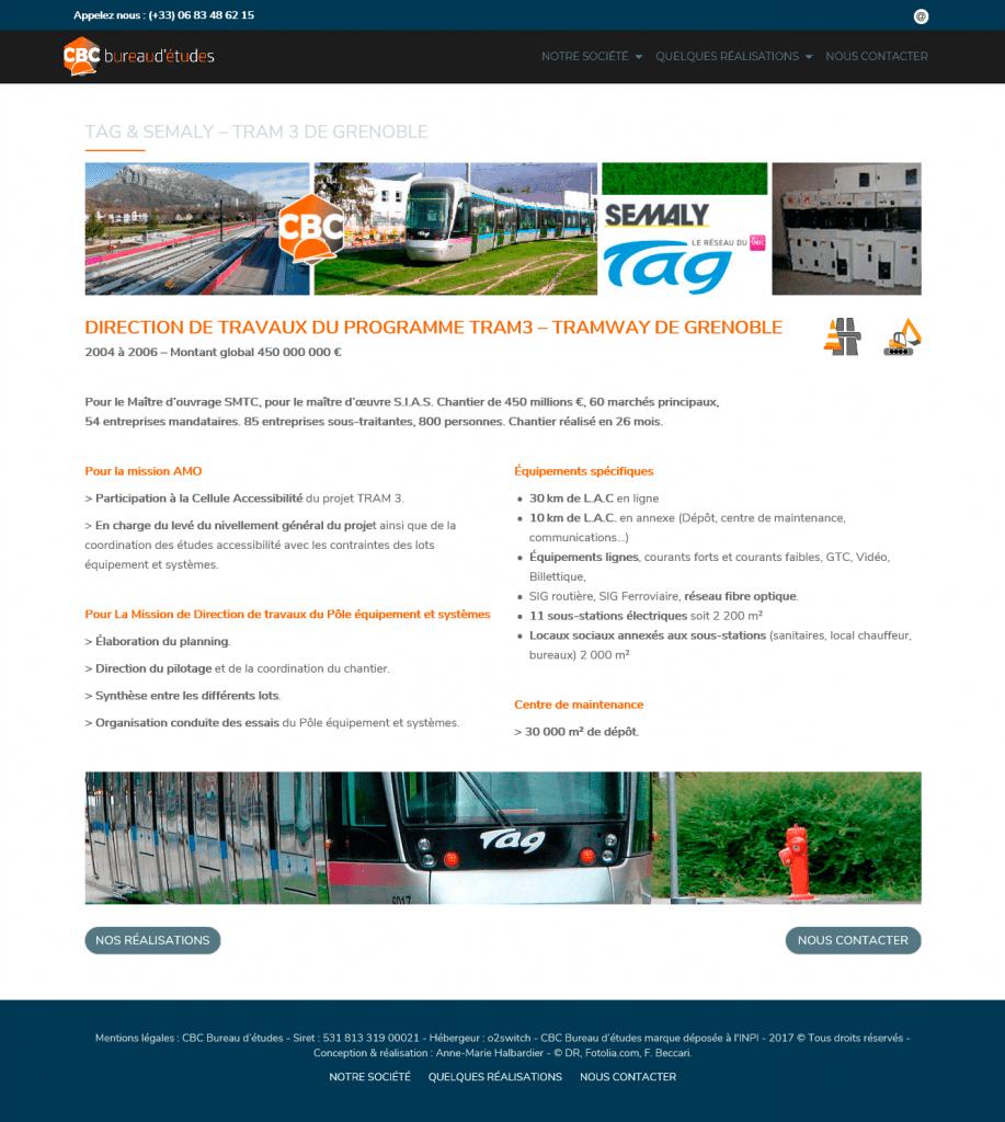page présentation réalisations pour TAG, le Tram de Grenoble.