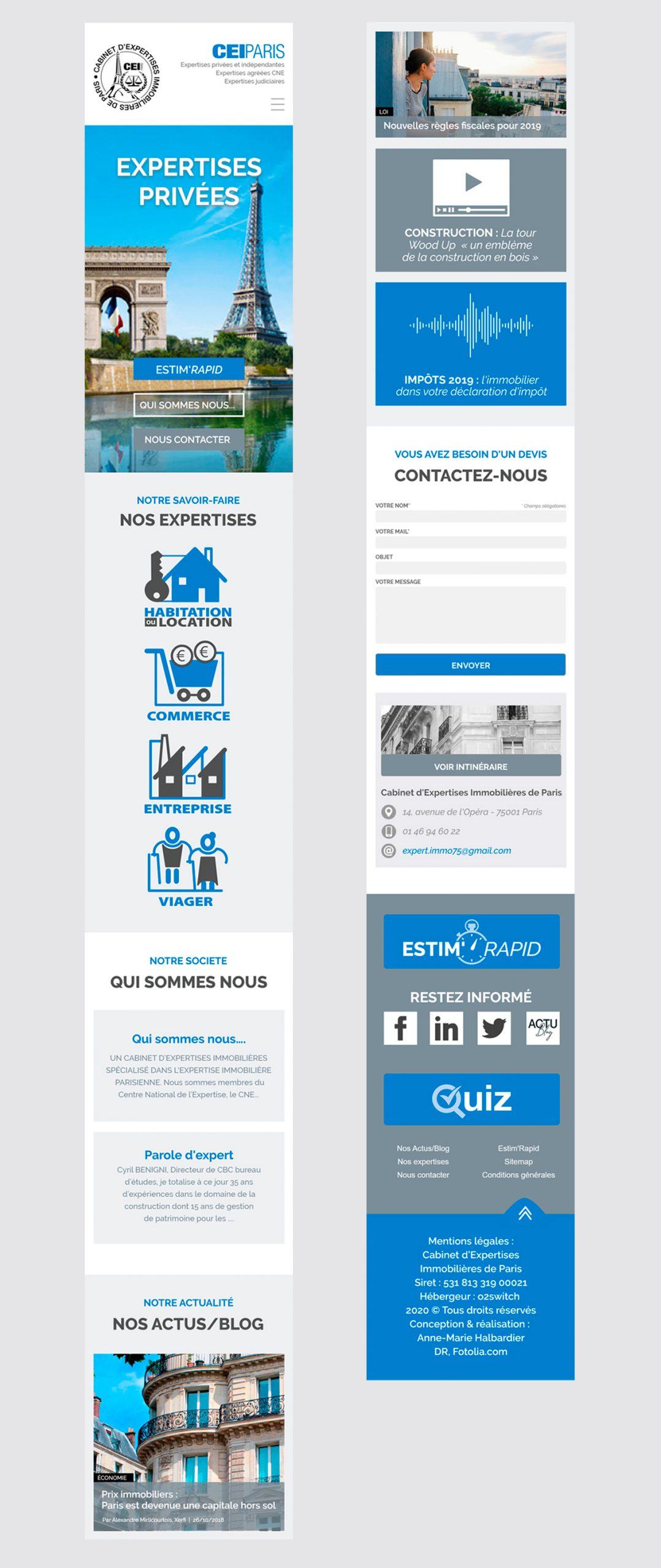 Maquette de la version Mobile du site de CEI PARIS.