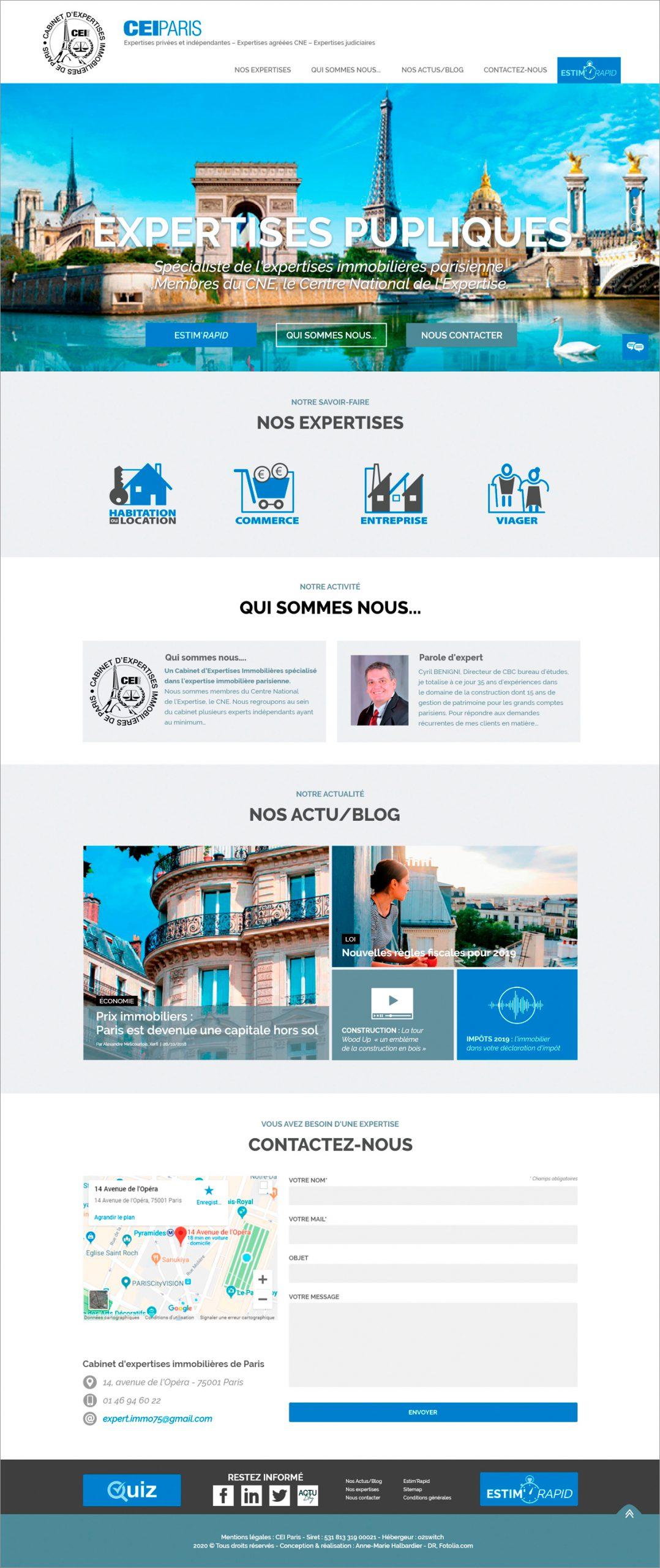 CEI PARIS version ordinateur du site. Page d'accueil