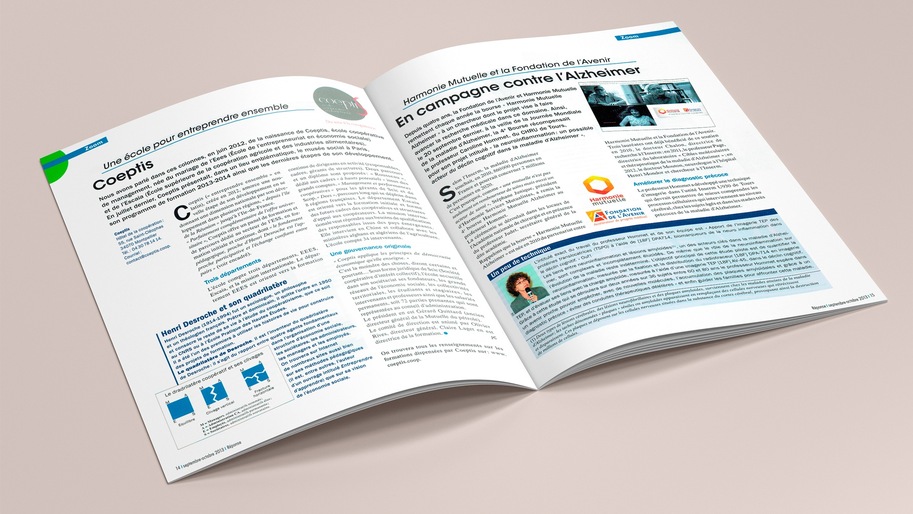 REPONSE Pages Zoom : Article Une école pour entreprendre ensemble. Article : Harmonie Mutuelle et la Fondation de l'Avenir