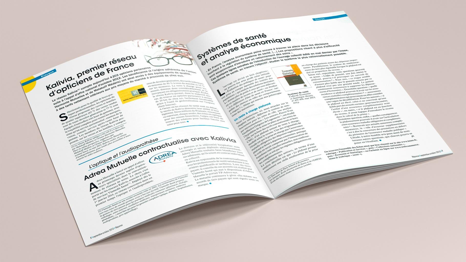 REPONSE Pages Kiosque : Kalivia, premier réseau d'opticiens de France. Articles : Systèmes de santé et analyse économique