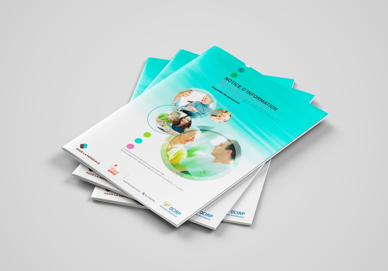 Couverture de la brochure d'AG2R la Mondiale. Notice d'information. Régime de maintien de salarié et prévoyance.