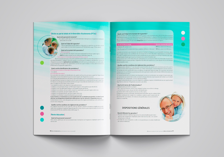 Brochure d'AG2R la Mondiale. Notice d'information. Page 10-11. Régime de maintien de salarié et prévoyance.