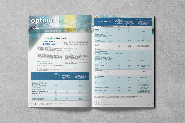Brochure de DASSAULT. Notice d'information. Régime frais de Santé. Pages 12-13.