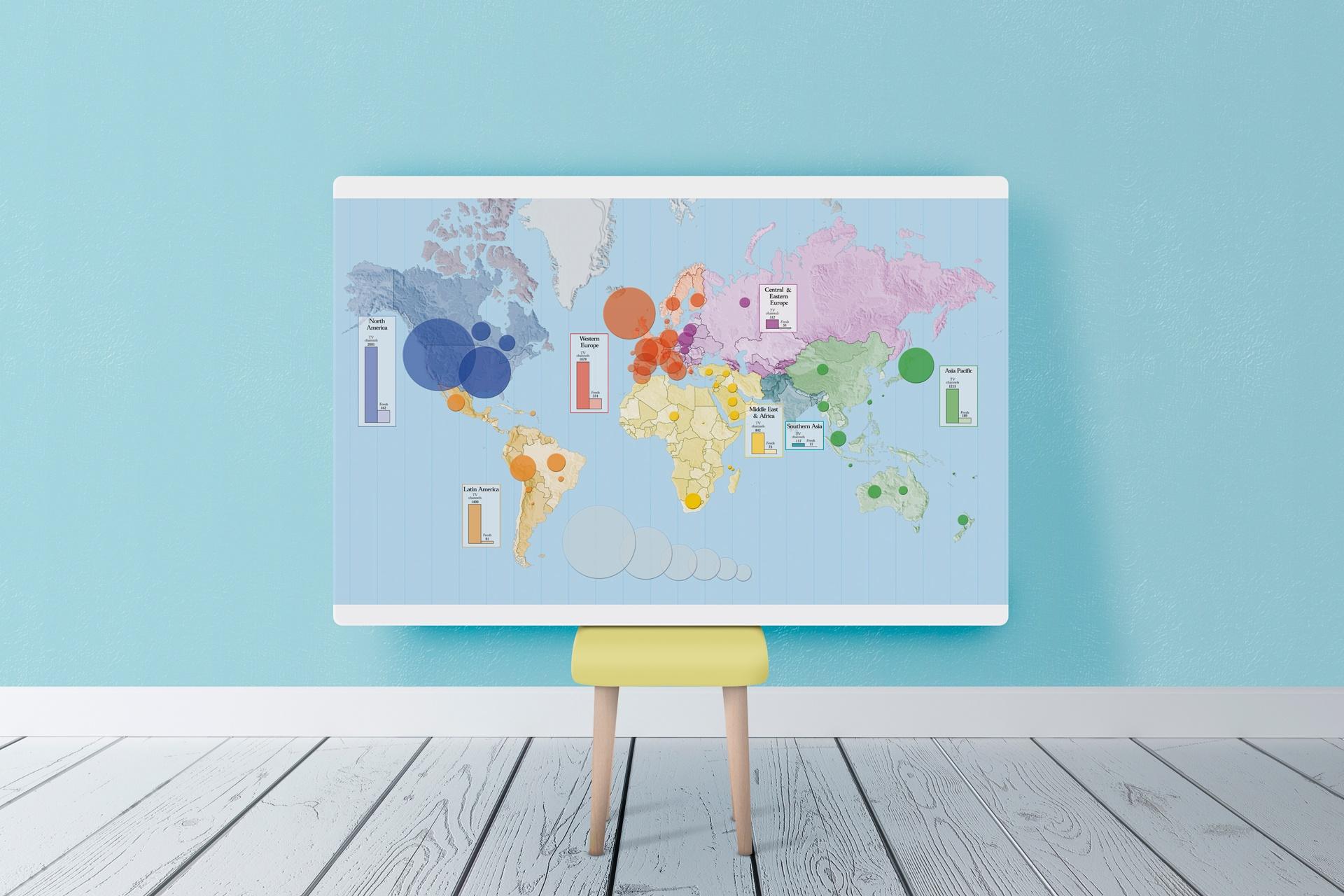 Un plan du monde en zones couleurs