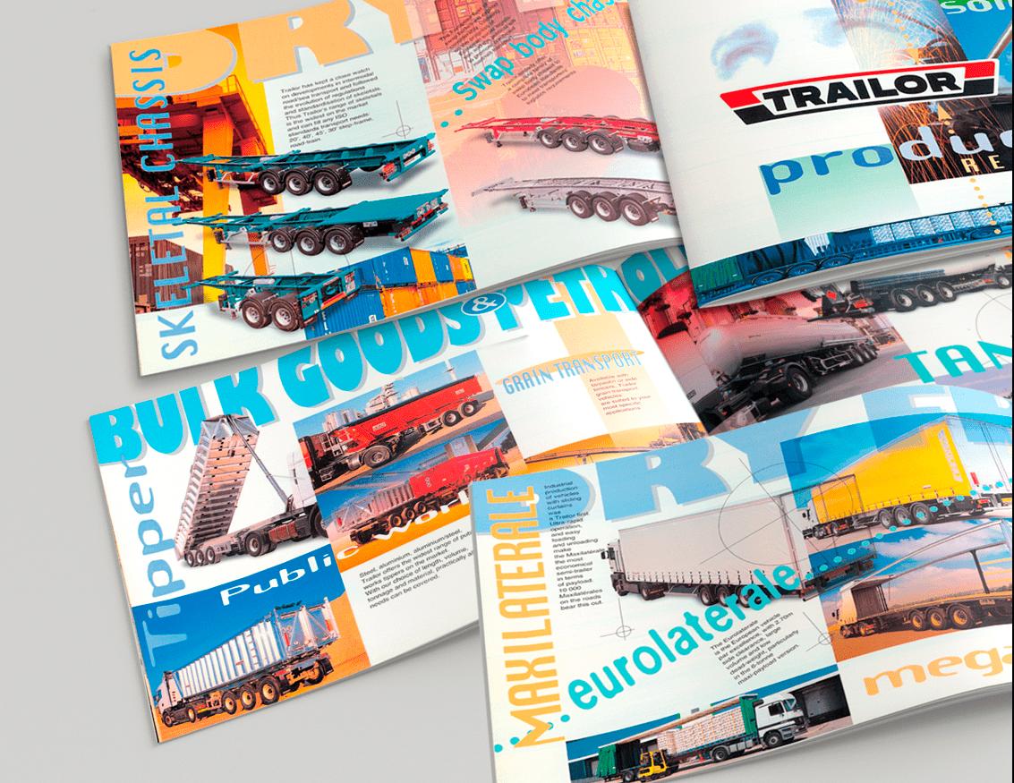 Couvertures + doubles pages intérieures du catalogue Trailor en anglais et en allemand.